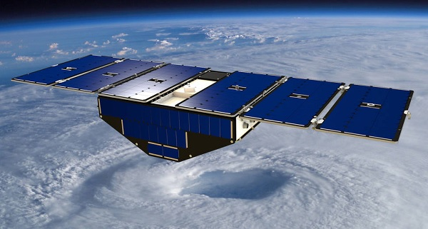 concept of one of the eight Cyclone Global Navigation Satellite System satellites deployed in space above a hurricane (Photo: NASA.gov)