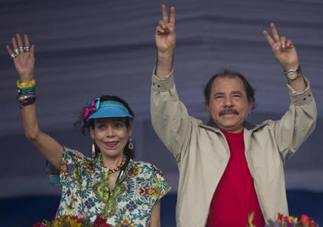 Nicaragua's president, Daniel Ortega, with his wife and running mate, Rosario Murillo, at a campaign event. (PHOTO: ap.org)