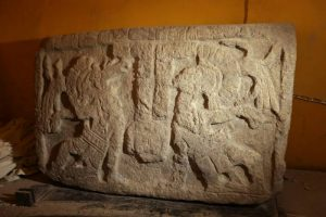 Mayan stone glyph recoverd from Hotel Merida Mission.(PHOTO: sipse.com)