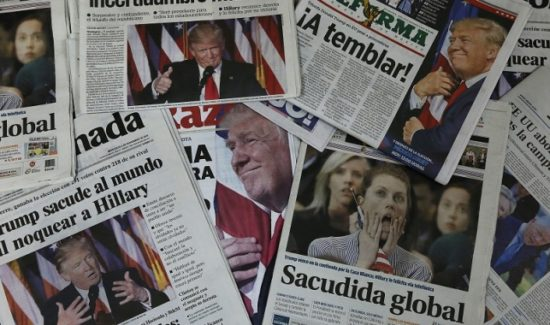Latin American newspapers' headlines reflect reaction to Donald Trump's defeat of Hillary Clinton. (PHOTO: AS/COA)