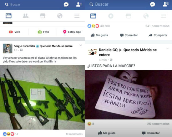 Two messages on social media Sunday threatened a 'massacre' in Merida. (PHOTO: sipse.com)