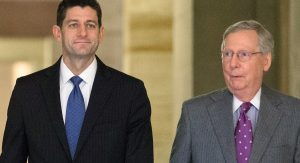 House Speaker Paul Ryan (left) and Senate Majority Leader Mitch McConnell vowed funds to pay for wall. (PHOTO: politico.com)