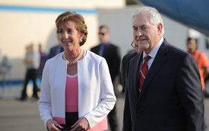 U.S. Secretary of State Rex Tillerson with U.S. Ambassador to Mexico Roberta Jacosbon. (Pool Photo)