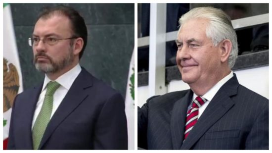 Mexican Foreign Minister Luis Videgaray (left), U.S. Secretary of State Rex Tillerson. (PHOTO: ADN Sureste)