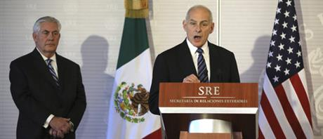 U.S. Homeland Security chief John Kelly speaking in Mexico City. At left is Secretary of State Rex Tillerson. (Pool photo)