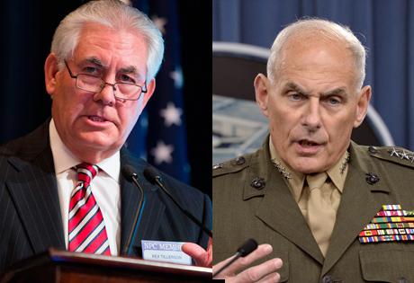 U.S. Secretary of State Rex Tillerson, left; Homeland Security Secretary John Kelly, right. (PHOTO: reuters.com)