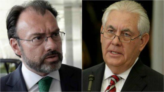 Mexican Foreign Minister Luis Videgaray (left); U.S. Secretary of State Rex Tillerson. (PHOTO: telemundosanantonio.com)