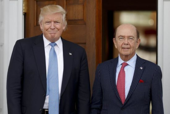 U.S. President Donald Trump and U.S. Commerce Secretary Wilbur Ross. (PHOTO: bostonglobe.com)