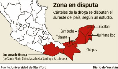 Yucatán, Campeche, Quintana Roo, Tabasco Chiapas and Some regions of Oxaca are the zones in dispute by the organized crime. (Image: Diario de Yucatan, with information from Standford University)