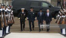 Defense secretaries enter meeting in Washington. PHOTO: Getty Images