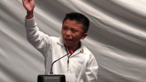 Ángel Jacinto Noh Tun, 12, delivers speech. (PHOTO: Noticracia)