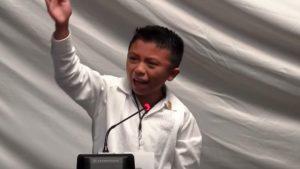 Ángel Jacinto Noh Tun, 12, delivers speech. (PHOTO: Noticracia)
