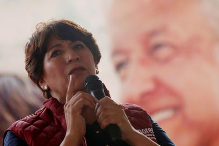 Delfina Gomez of the National Regeneration Movement (MORENA), candidate for the governor of the State of Mexico, addresses the audience during her electoral campaign in Metepec, State of Mexico, Mexico May 16, 2017.