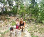 Leonie Jarrett taking a break with a few of her young friends in Feliipe Carrillo Puerto.  (PHOTO: Courtesy Leonie Jarrett)