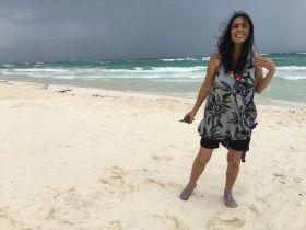 The writer's wife on Tulum beach. (PHOTO: Chuck Bolotin)