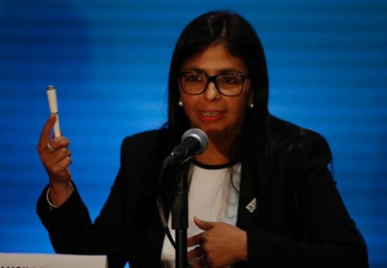 Venezuelan Foreign Minister Delcy Rodriguez addresses the media at the OAS 47th General Assembly in Cancun. PHOTO: REUTERS/Carlos Jasso
