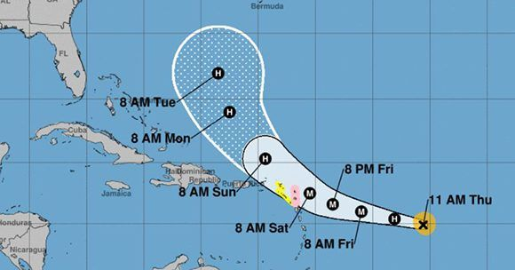 jose upgraded to category 4 hurricane as it heads to islands alreadypossible path of the hurricane jose (photo google)