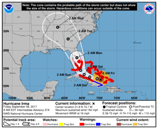 officials warn of unprecedented destruction in florida from irmathe national hurricane center said irma remained u201cextremely dangerous,u201d with winds of 150 miles per hour and the florida keys at risk of u201clife threatening