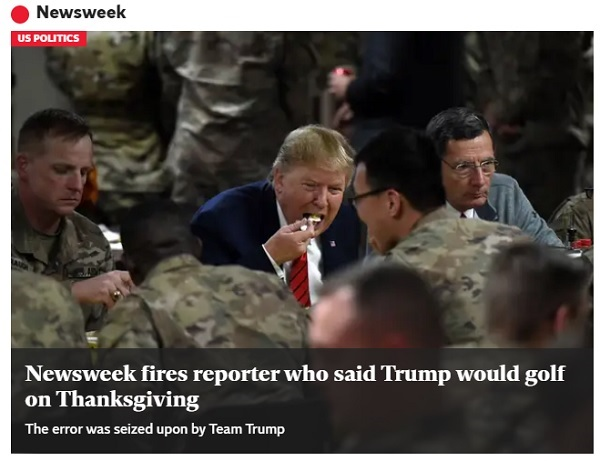 'Newsweek' cans reporter after Thanksgiving Trump stumble