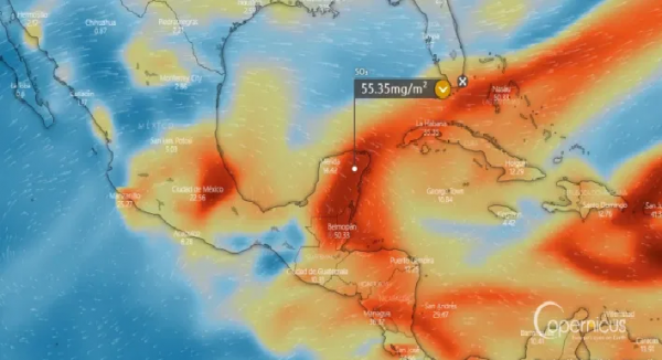 La Soufrière: dióxido de azufre del volcán llegará a Yucatán.