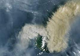 Dióxido de azufre del volcán La Soufrière cubre parte de la Tierra